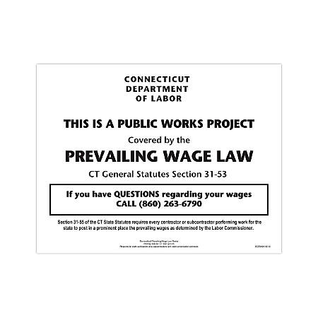 """ComplyRight State Specialty Poster, English, Connecticut, Prevailing Wage Law, 8 1/2"""" x 11"""""""