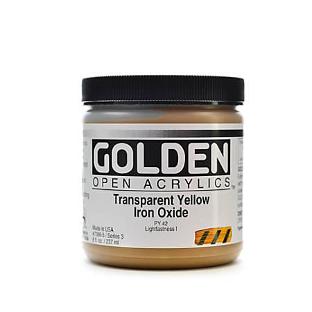 Golden OPEN Acrylic Paint, 8 Oz Jar, Transparent Yellow Iron Oxide