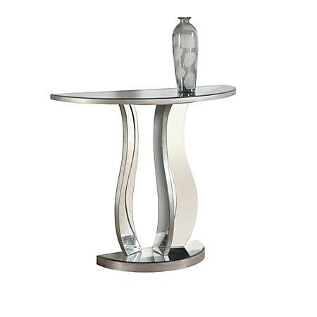 """Monarch Specialties Remy Accent Table, 32-1/2""""H x 36""""W x 14-1/2""""D, Brushed Silver"""