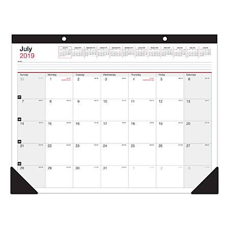 "Office Depot® Brand Monthly Academic Desk Calendar, 22"" x 17"", July 2019 to June 2020"