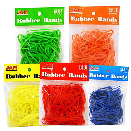JAM Paper® Rubber Bands, 3.3 mil, Assorted Colors, 100 Rubber Bands Per Bag, Pack Of 5 Bags
