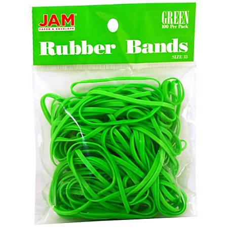 JAM Paper® Rubber Bands, 3.3 mil, Green, Bag Of 100 Rubber Bands