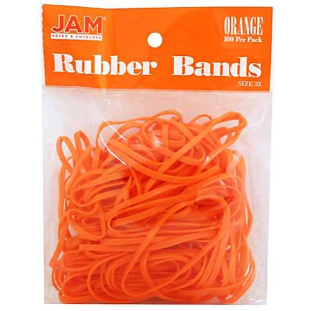 JAM Paper® Rubber Bands, 3.3 mil, Orange, Bag Of 100 Rubber Bands