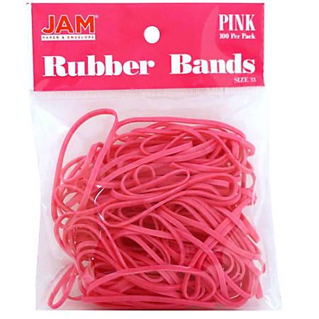 JAM Paper® Rubber Bands, 3.3 mil, Pink, Bag Of 100 Rubber Bands