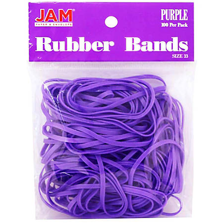 JAM Paper® Rubber Bands, 3.3 mil, Purple, Bag Of 100 Rubber Bands