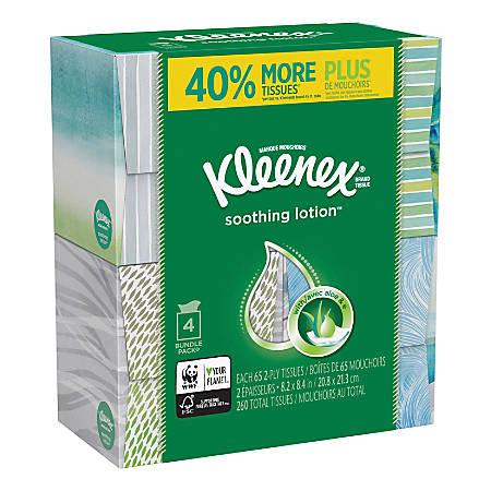 Kleenex® Soothing Lotion 2-Ply Facial Tissues, White, 65 Sheets Per Box, Carton Of 8 Boxes