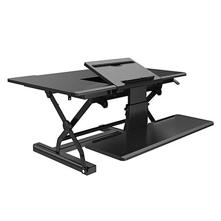 "Loctek P Series 36"" Sit-Stand Riser With Drop-Down Keyboard Tray, Black"
