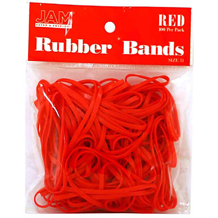 JAM Paper® Rubber Bands, 3.3 mil, Red, Bag Of 100 Rubber Bands