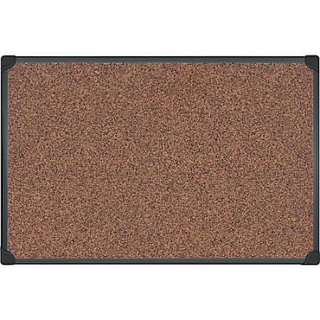 "MasterVision Techcork Board - 48"" Height x 36"" Width - Brown Rubber Surface - Self-healing - Black Aluminum Frame - 1 Each"