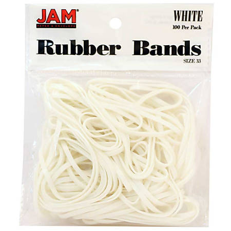 JAM Paper® Rubber Bands, 3.3 mil, White, Bag Of 100 Rubber Bands