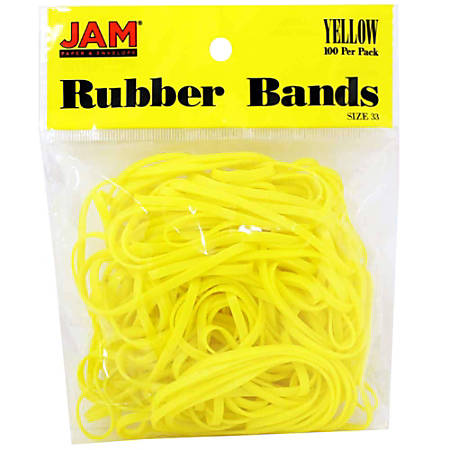 JAM Paper® Rubber Bands, 3.3 mil, Yellow, Bag Of 100 Rubber Bands