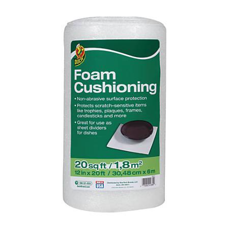 """Duck® Foam Cushioning Sheeting Roll, 12"""" x 20', White"""