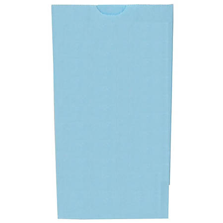 """JAM Paper® Small Kraft Lunch Bags, 8""""H x 4-1/8""""W x 2-1/4"""", Baby Blue, Pack Of 500 Bags"""