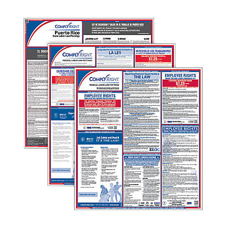 ComplyRight Federal/State Labor Law Posters And 1-Year Subscription Service, Bilingual/Spanish, Puerto Rico