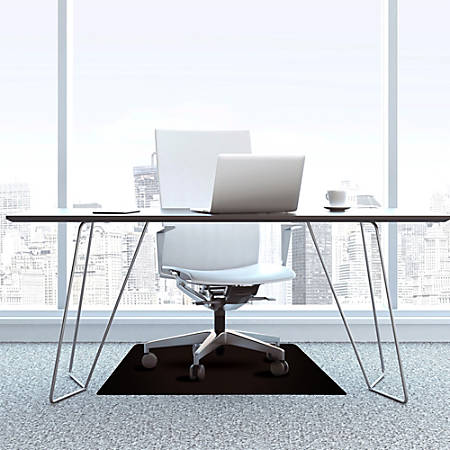 "Cleartex Advantagemat Black Chair Mat - Office, Hard Floor, Carpeted Floor - 60"" Length x 48"" Width x 0.60"" Thickness - Rectangle - Classic - Polyvinyl Chloride (PVC) - Black"