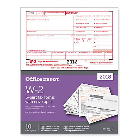 """Office Depot® Brand W-2 Inkjet/Laser Tax Forms And Envelopes, 6-Part, 8-1/2""""W x 11""""H, Pack Of 10 Sets"""