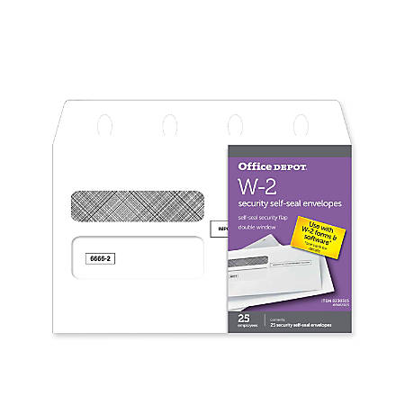 """Office Depot® Brand Double-Window Self-Seal Envelopes For W-2 Tax Forms, 9 1/4"""" x 5 5/8"""", White, Pack Of 25 Envelopes"""