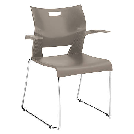 Global® Duet Stacking Chair With Arms, Latte Beige/Chrome