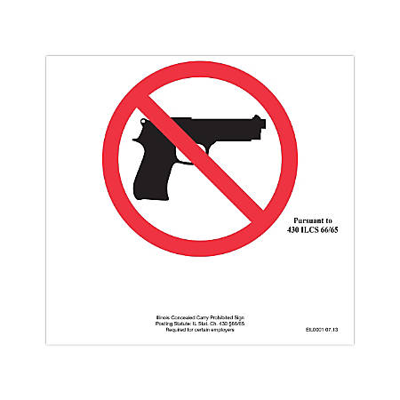 "ComplyRight State Specialty Poster, English, Illinois, Concealed Carry Prohibited Sign, 6"" x 6"""