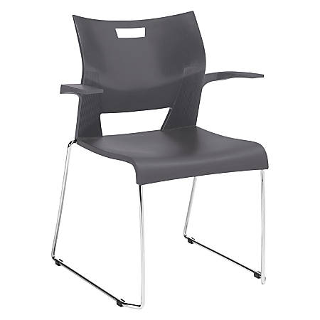 Global® Duet Stacking Chair With Arms, Platinum/Chrome