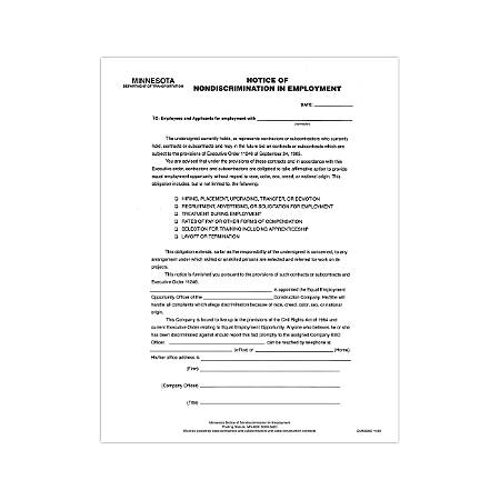 """ComplyRight State Specialty Poster, English, Minnesota, Notice Nondiscrimination In Employment, 8 1/2"""" x 11"""""""
