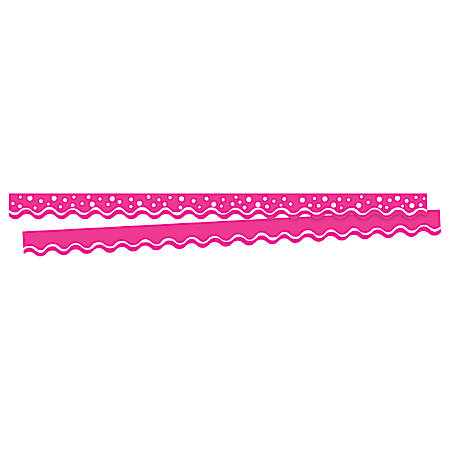 """Barker Creek Scalloped-Edge Border Strips, 2 1/4"""" x 36"""", Happy Hot Pink, Pre-K To College, Pack Of 26"""