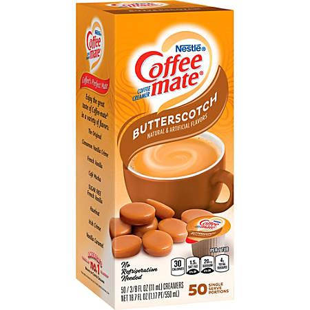 Nestlé Coffee-Mate Liquid Creamer Singles, Butterscotch, 0.38 Oz, Box Of 50 Creamers