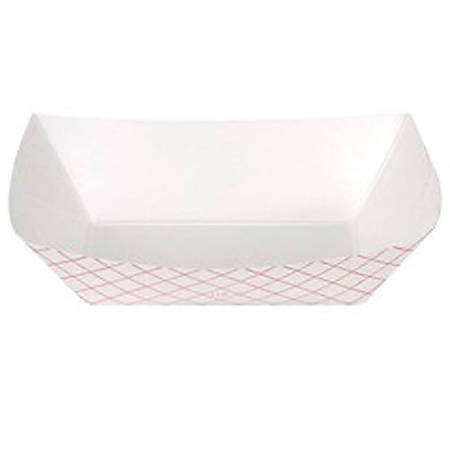 Dixie® Boat-Shaped Food Trays, 1 Lbs, Red/White, Case Of 1,000