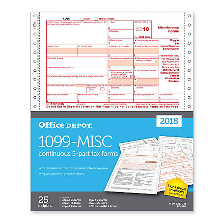 "Office Depot® Brand 1099-MISC Continuous Tax Forms, 5-Part, 9"" x 11"", Pack Of 25 Forms"