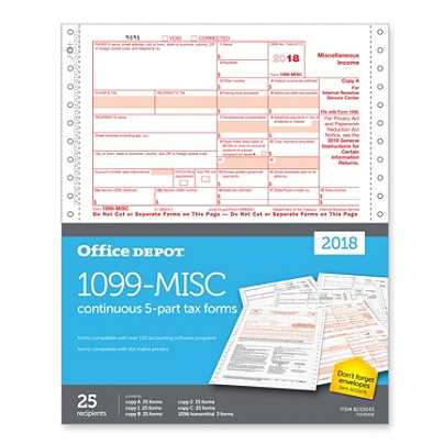 Office Depot Brand 1099 Misc Continuous Tax Forms 5 Part 9 X 11 Pack