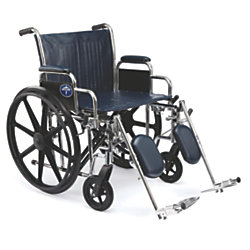 """Medline Excel Extra-Wide Wheelchair, Elevating, 22"""" Seat, Navy/Chrome"""