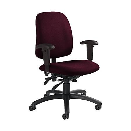 """Global® Goal Low-Back Multi-Tilter Chair, 36""""H x 25""""W x 22 1/2""""D, Vermilion/Black"""