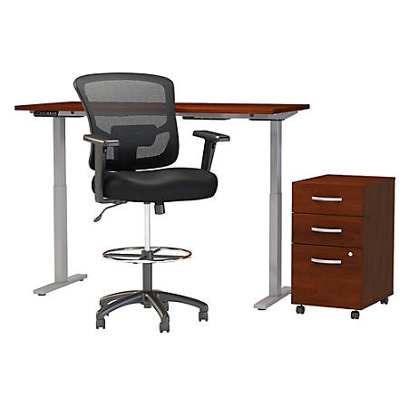 "Move 60 Series by Bush Business Furniture 60""W Height Adjustable Standing Desk With Storage And Drafting Chair, Hansen Cherry, Standard Delivery"