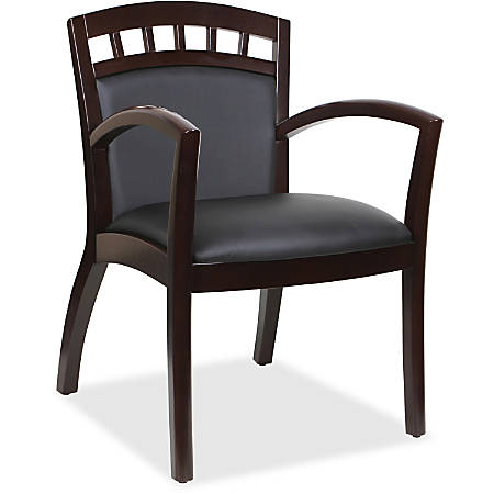 Lorell® Crowning Accent Bonded Leather Wood Guest Chair, Black/Espresso