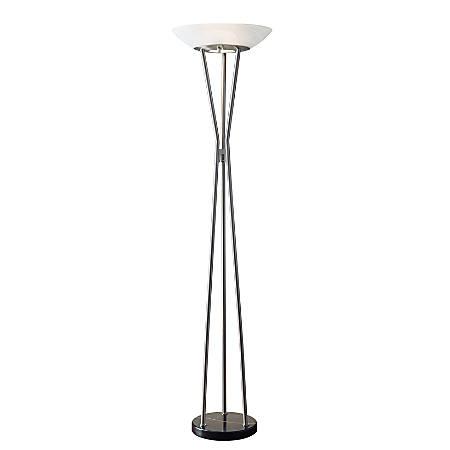 "Adesso® Gemma Floor Lamp, 71 3/4""H, White Shade/Steel Base"