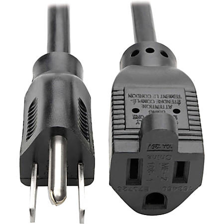 Tripp Lite 1ft Power Cord Extension Cable 5-15P to 5-15R 10A 18AWG 1'