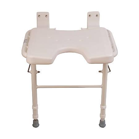 "HealthSmart® Wall-Mount Fold-Away Shower Seat, 24""H x 16 1/4""W x 16 1/4""D, White"