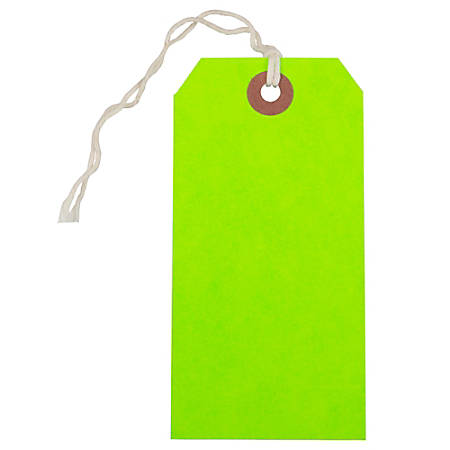 "JAM Paper® Medium Gift Tags, 4-3/4"" x 2-3/8"", Neon Green, Pack Of 10 Tags"