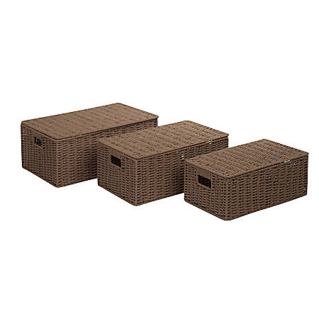 Honey-Can-Do Paper Rope Baskets, Taupe, Set Of 3