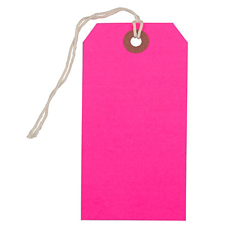 """JAM Paper® Medium Gift Tags, 4-3/4"""" x 2-3/8"""", Neon Pink, Pack Of 10 Tags"""
