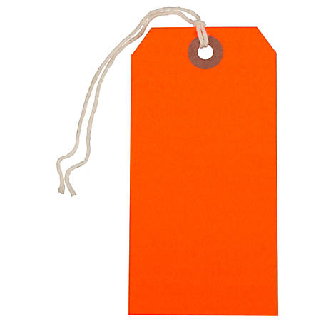 """JAM Paper® Medium Gift Tags, 4-3/4"""" x 2-3/8"""", Neon Red, Pack Of 10 Tags"""