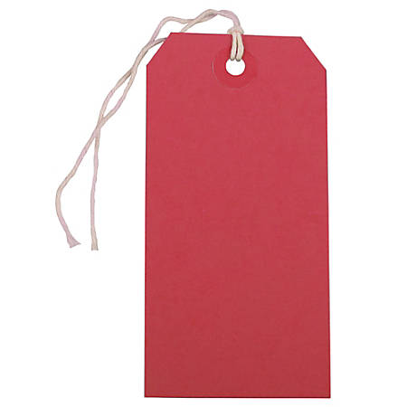 "JAM Paper® Medium Gift Tags, 4-3/4"" x 2-3/8"", Red, Pack Of 10 Tags"