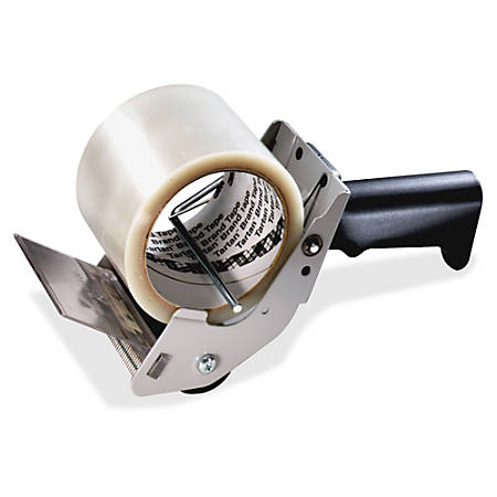 "Tartan™ Box Sealing Hand Dispenser, Red - Holds Total 1 Tape(s) - 3"" Core - Refillable - Lightweight - Metal, Plastic - Black"