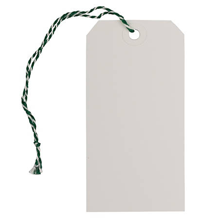 "JAM Paper® Medium Gift Tags, 4-3/4"" x 2-3/8"", White/Green, Pack Of 10 Tags"