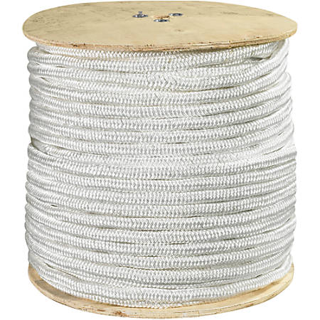 "Office Depot® Brand Double-Braided Nylon Rope, 25,500 Lb, 1"" x 600', White"