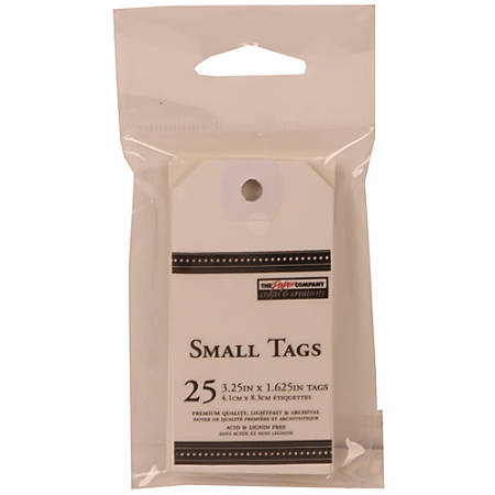 """JAM Paper® Small Gift Tags, 3-1/4"""" x 1-9/16"""", White, Pack Of 25 Tags"""