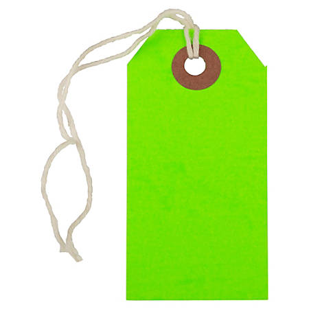 "JAM Paper® Small Gift Tags, 3-1/4"" x 1-9/16"", Neon Green, Pack Of 10 Tags"