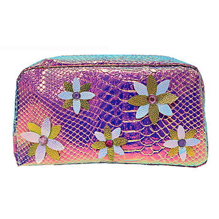"Inkology Holographic Pencil Pouch, 8""H x 4""W x 2-1/2""D, Flowers"