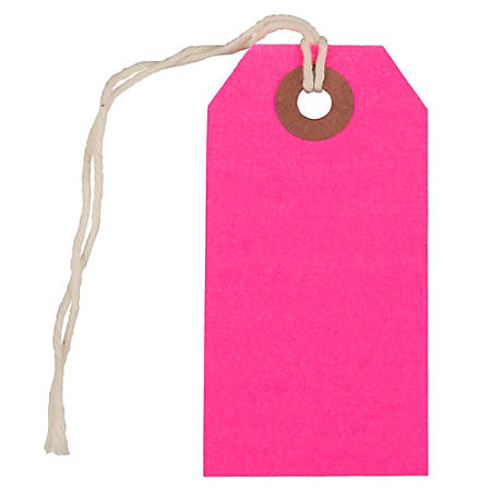 "JAM Paper® Small Gift Tags, 3-1/4"" x 1-9/16"", Neon Pink, Pack Of 10 Tags"