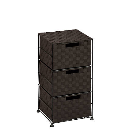 "Honey-Can-Do 3-Drawer Wheeled Cart, 24""H x 12""W x 12""D, Espresso"